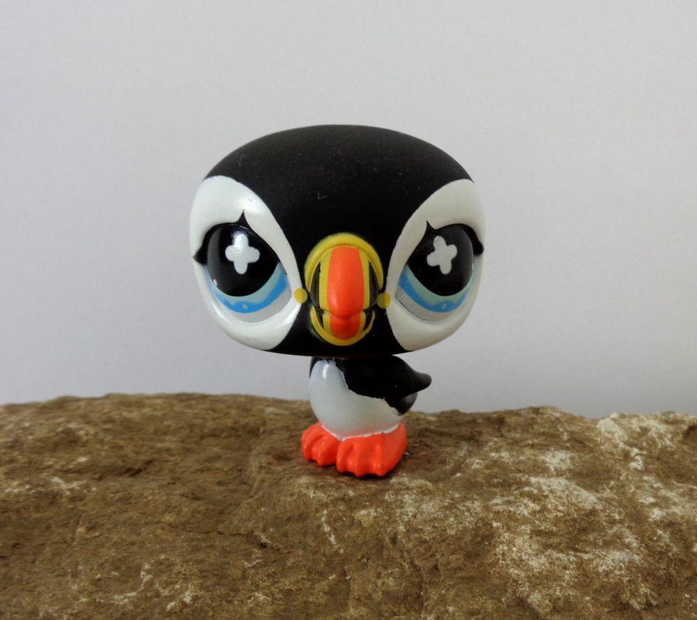 littlest pet shop 654 black white puffin arctic penguin bird blue