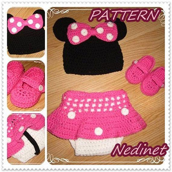 Crochet Minnie PATTERN, crochet pattern baby, dress set, hat, dress ...