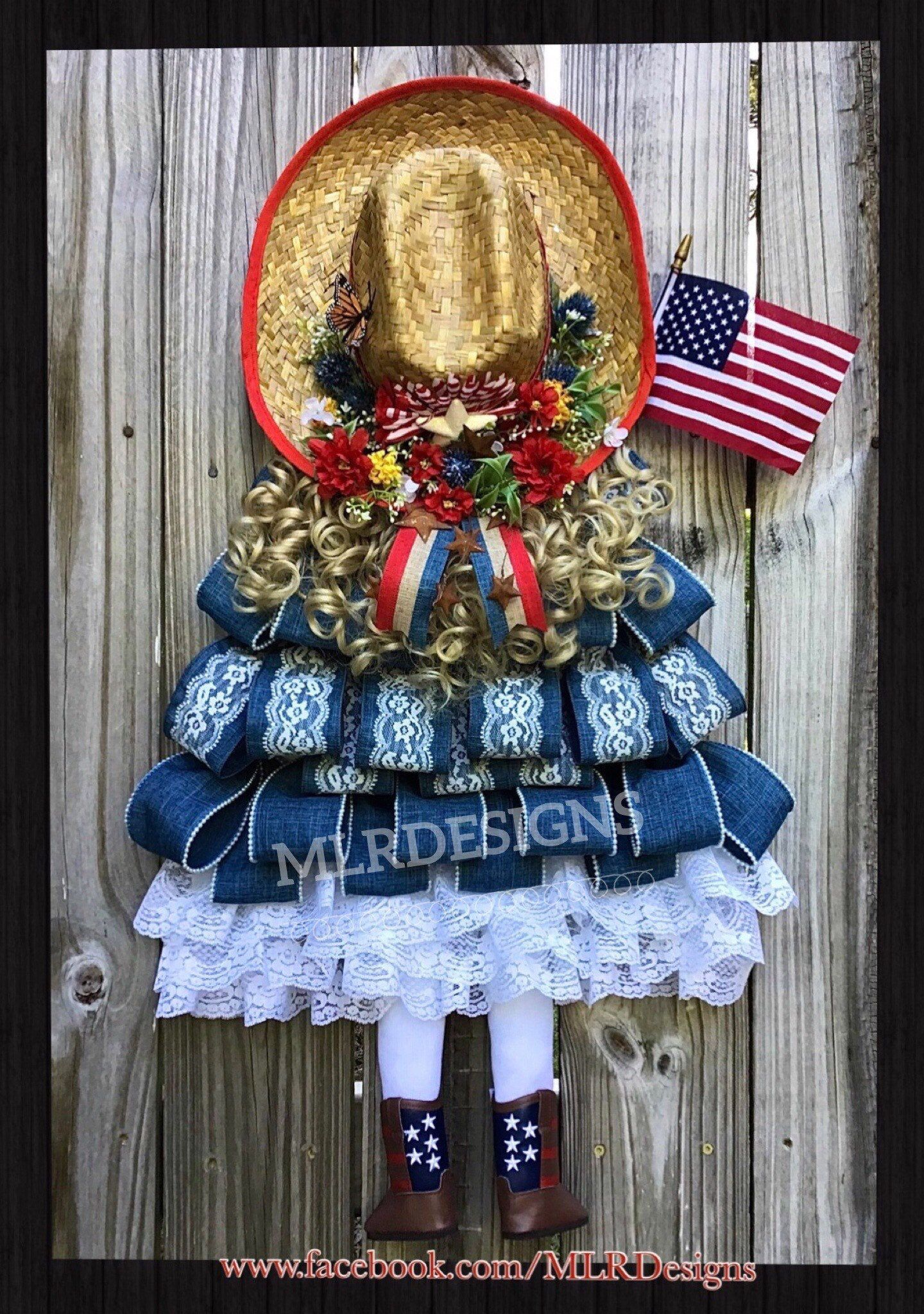 Farmhouse Wreath, Country Girl Wreath, Patriotic Wreath, July 4 Wreath, Independence Day Wreath, Memorial Day, Veterans Day, USA, OOAK