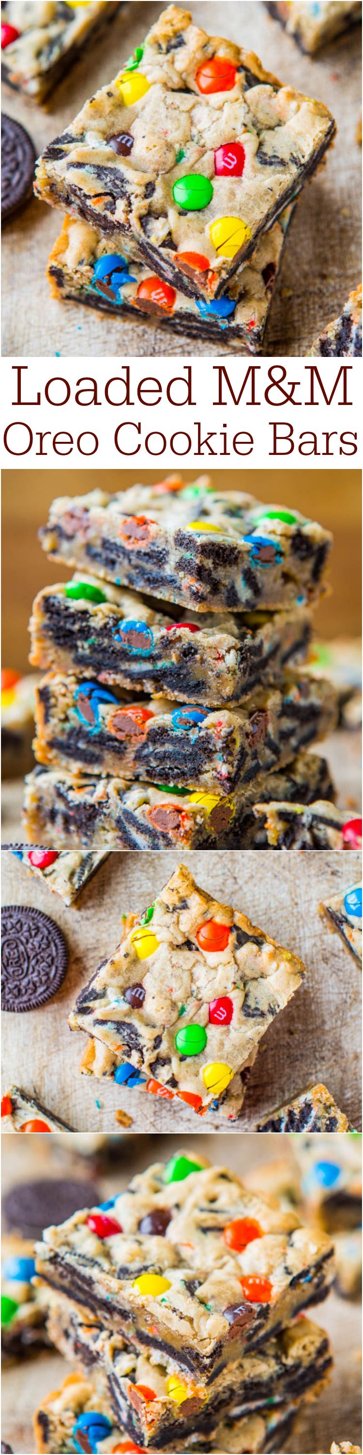 Loaded M&M Oreo Cookie Bars - Stuffed to the max with M&Ms and Oreos! Easy, no-mixer recipe that's ready in 30 minutes! Always a hit! (Pinned 500k times & on the cover of Taste of Home Magazine!)