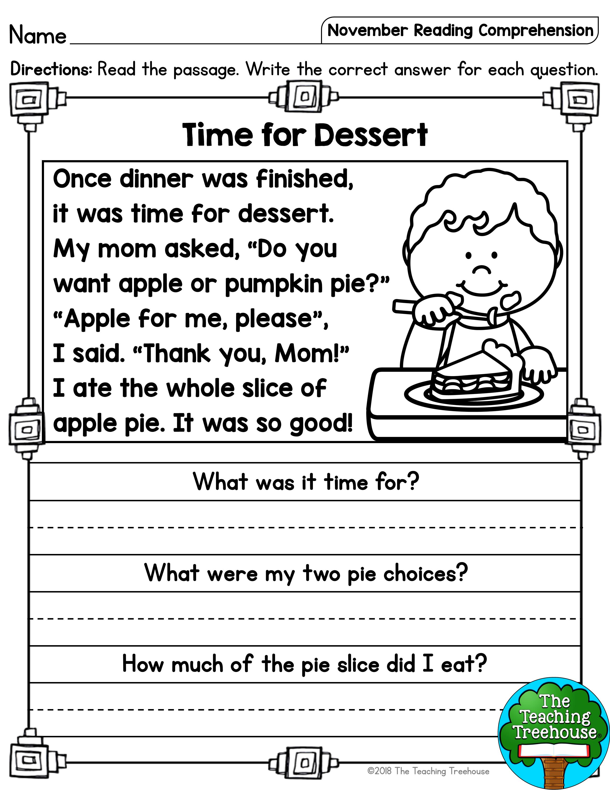- November Reading Comprehension Passages For Kindergarten And First