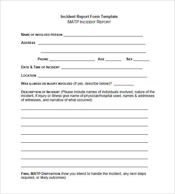 Image result for basic incident report form Build Pinterest