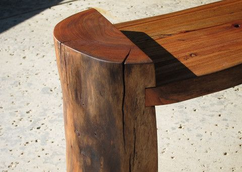 Log Bench Rustic Solid Wood Slab Bench Live Edge Wood