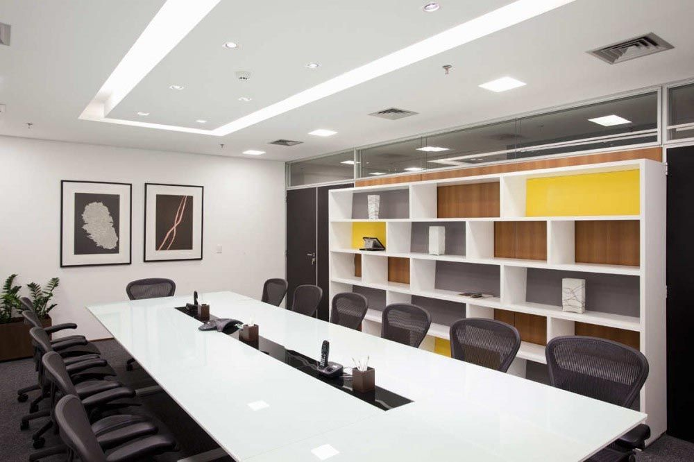 Conference Room With Long White Table Office Design With Images