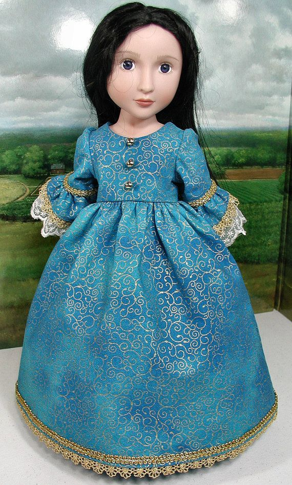 580e13d24 This dress was hand-crafted to fit the popular 16-inch doll - A Girl for  All Time. The dress is made of 100%cotton and is trimmed with metallic