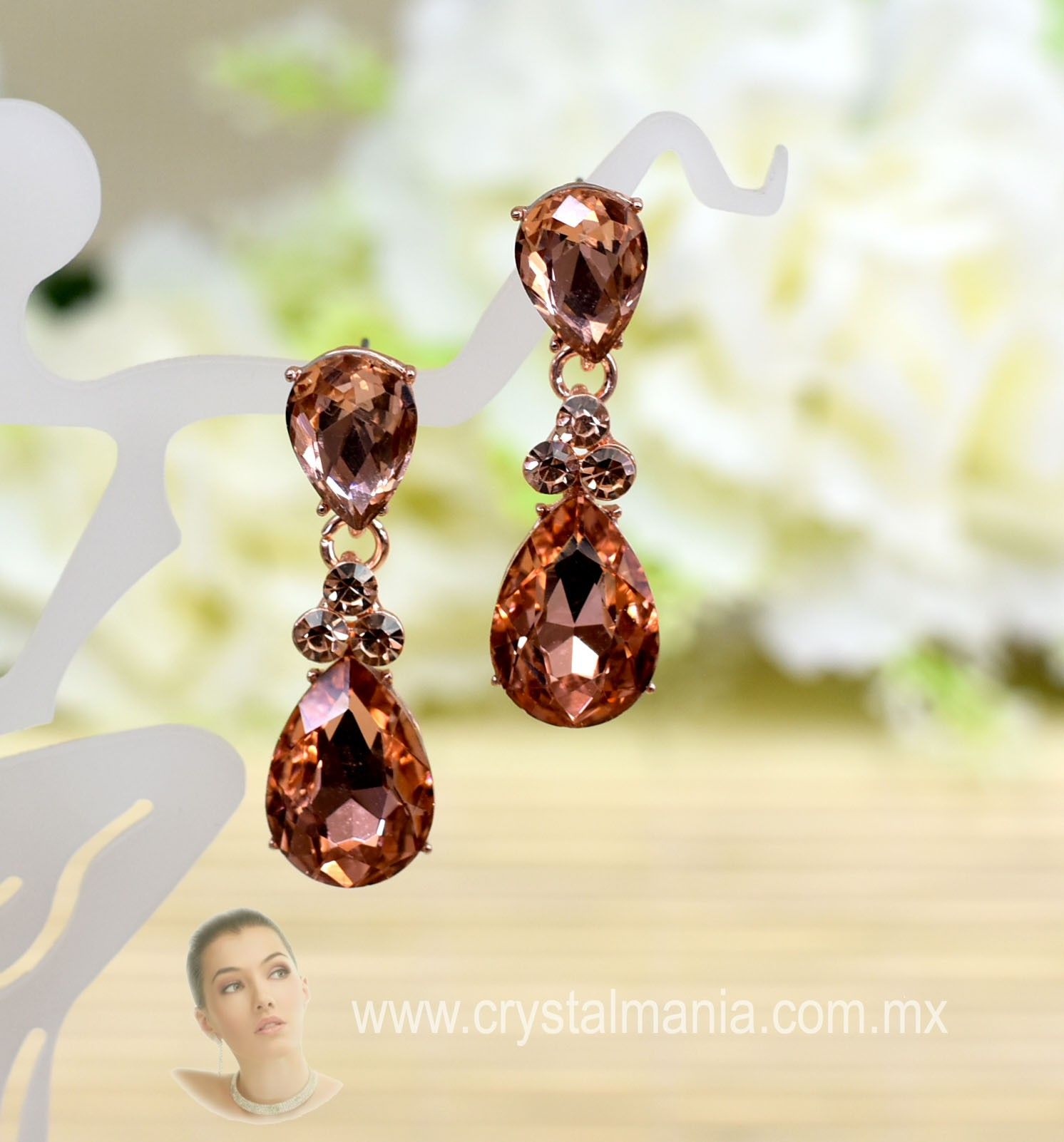 nuevo estilo a7367 4c7a4 Aretes bisuteria moda, aretes rose gold cristal, aretes ...