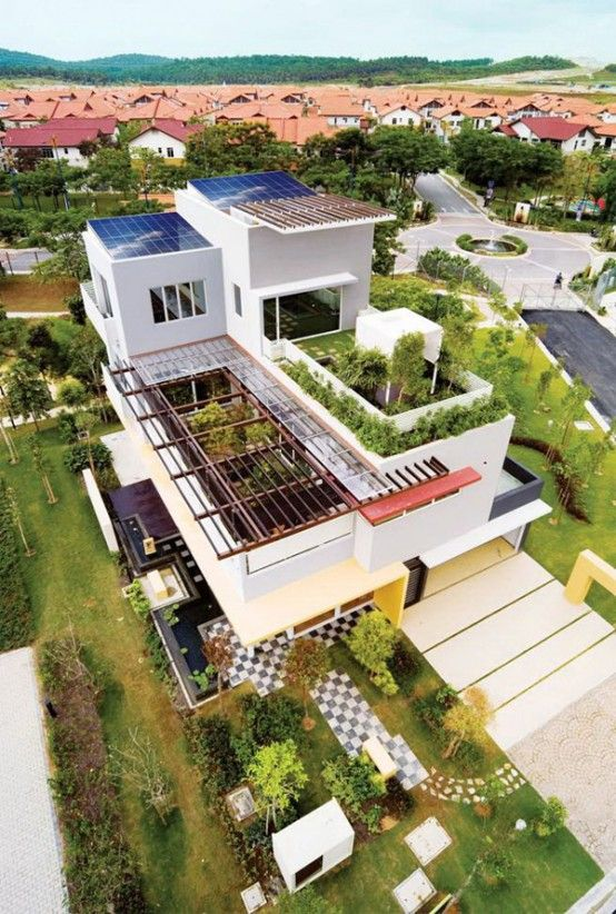 Interesting House Exterior Design In Kulai Malaysia: Tropical+House+Design+with+Cool+Rooftop+Garden+and+Canopy+