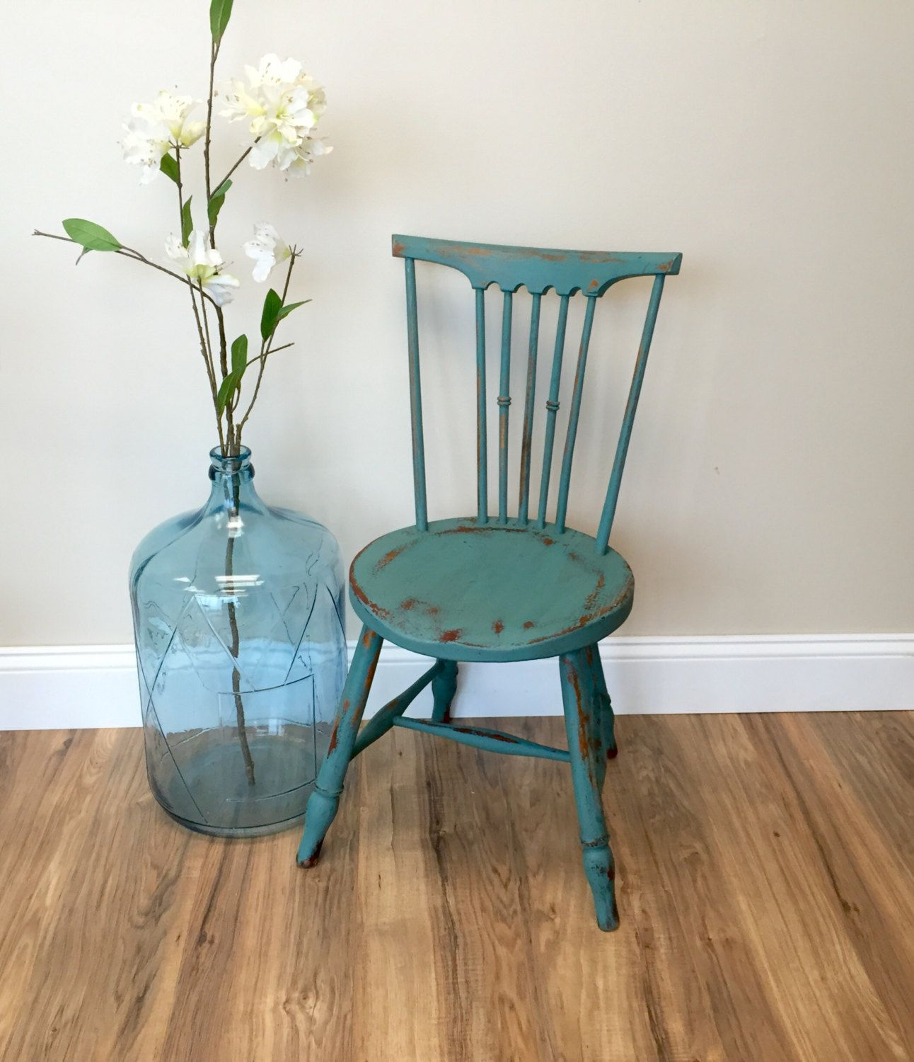 Teal Chair, Primitive Furniture, Small Accent Chair, Antique Childs Chair,  Small Wooden