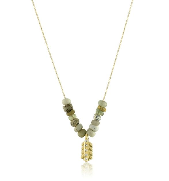 Elisa Solomon Jewelry 18 karat yellow gold small feather necklace with white diamonds and ancient beads