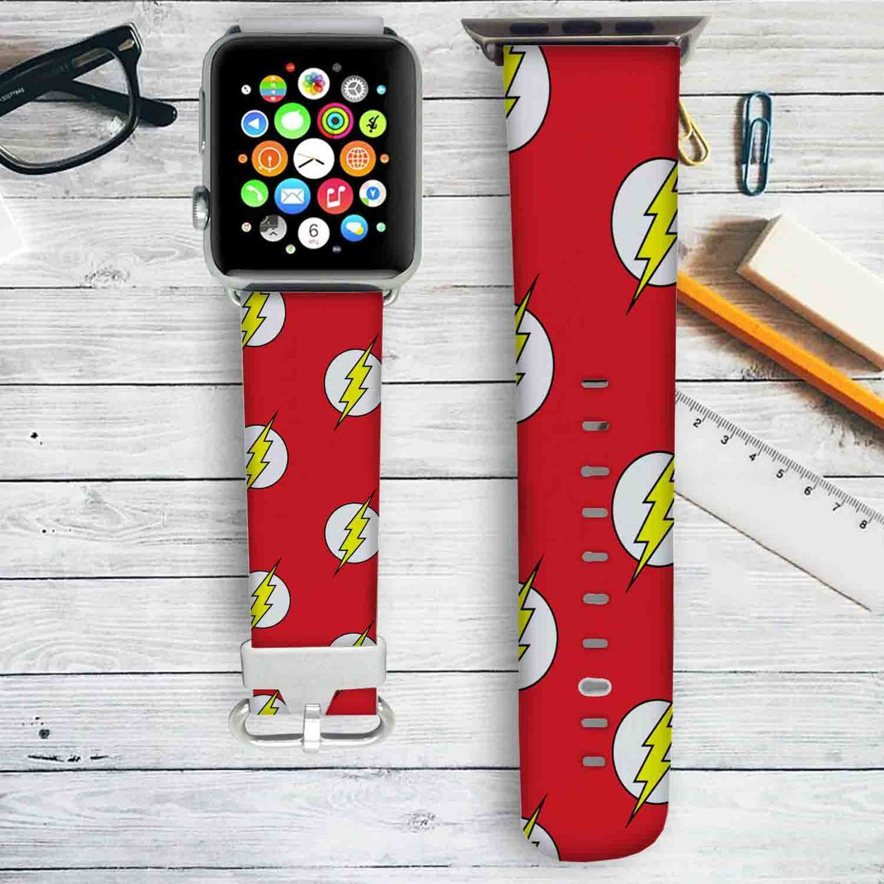 The Flash Logo Pattern Custom Apple Watch Band Leather