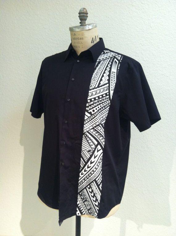 Aloha Shirt Black With Samoan Tattoo Print | Fashion models men ...