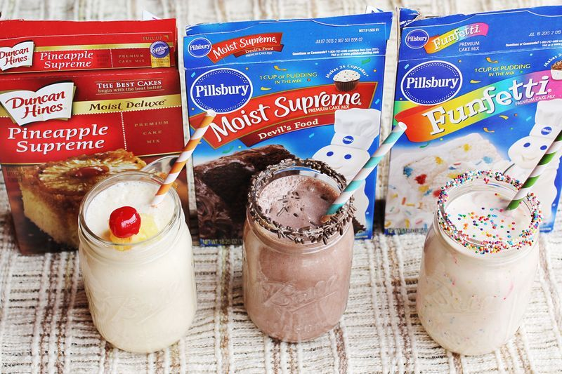 Cake batter milk shakes :)Take half of ingredients don't add oil or eggs mix w vanilla ice cream! Will hav to try?