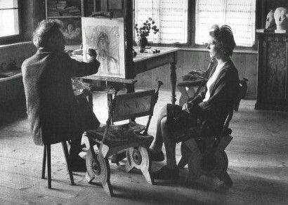 Giacometti dibuixant a la seva dona