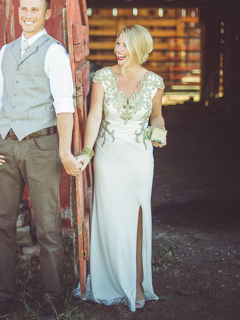 24 Nontraditional Wedding Dress Ideas Theknot Metallic Embellishments