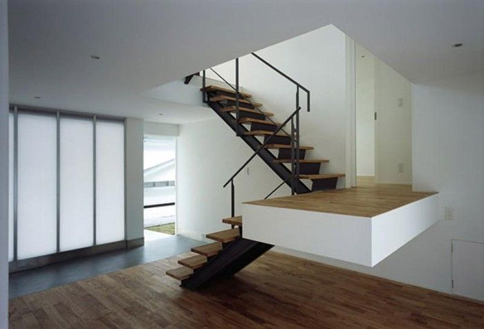 Safety And Unique Stair Design With Wooden Rungs And Stainless Steel  Handrail In Modern Home