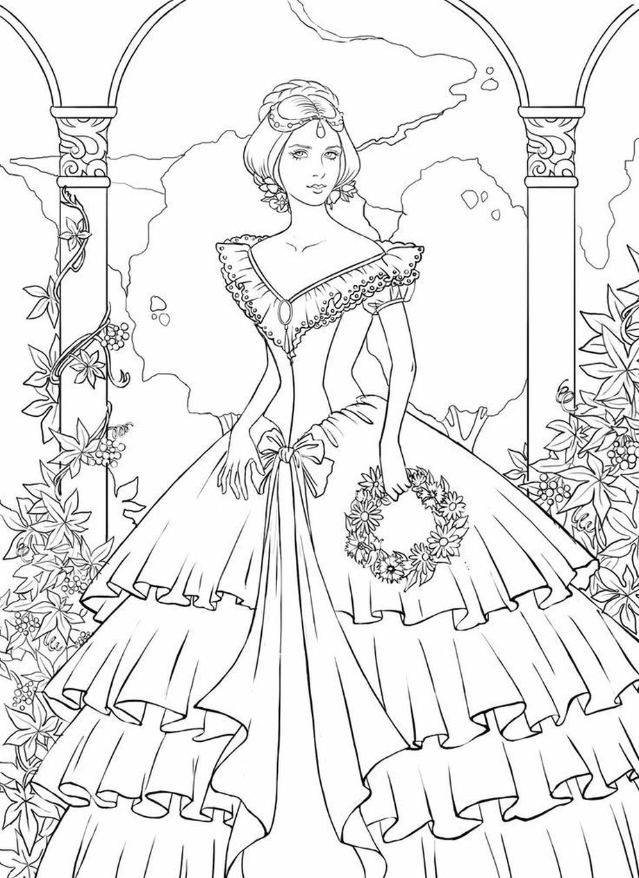Victorian Woman Coloring Pages For Adults Fashion Coloring Pages