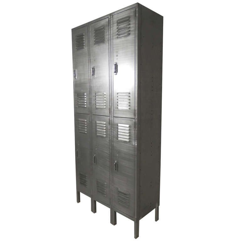 Vintage Locker Set In Brushed Metal Finish From A Unique Collection Of Antique And Modern Cabinets At