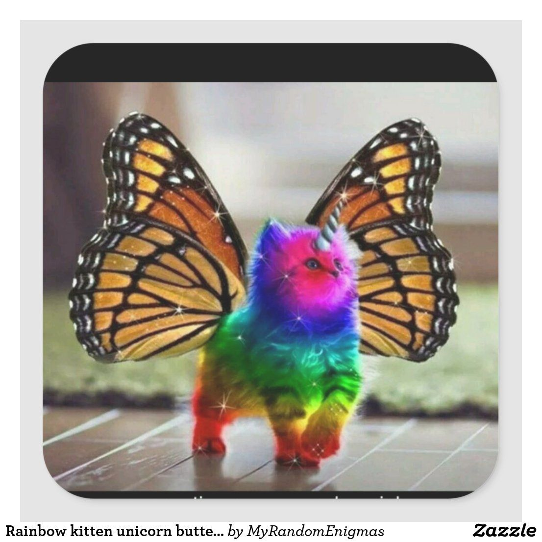 Personalized Rainbow - Rainbow kitten unicorn butterfly Square Sticker - Decorative Stamps & Stickers Small, 1½ inch (sheet of 20) at Zazzle