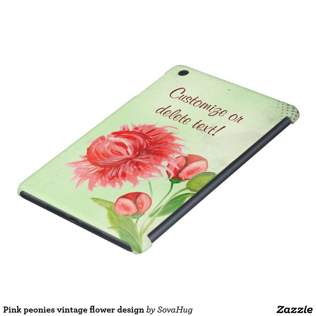 Pink peonies vintage flower design iPad mini retina case