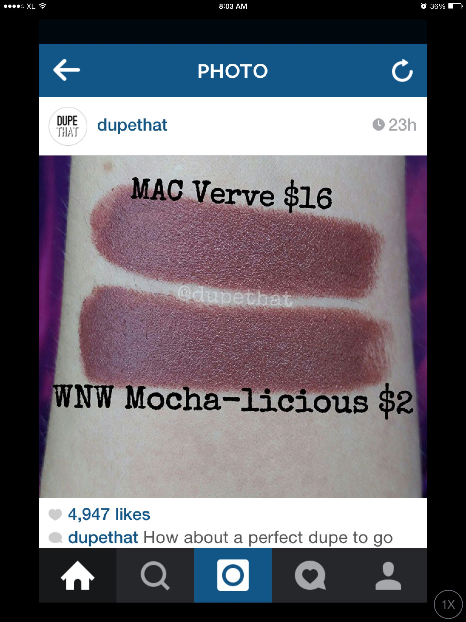 Wet n Wild Mochalicious is a perfect dupe for MAC Verve