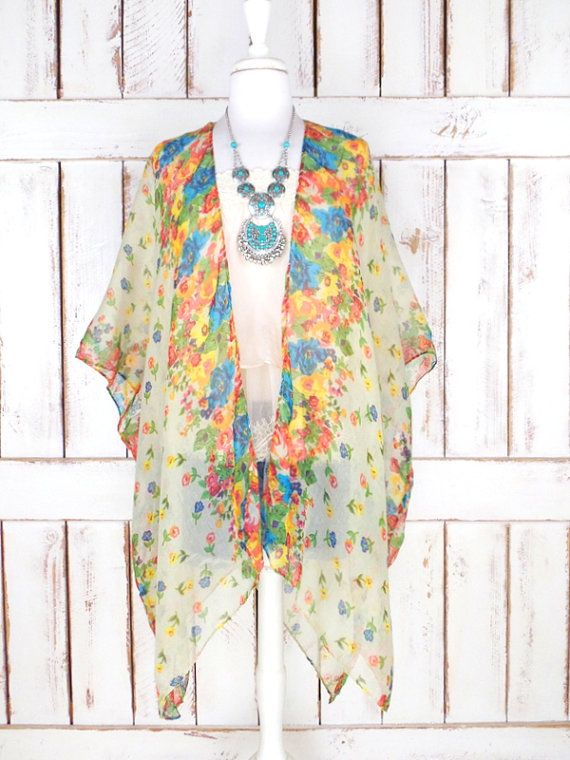 Sheer gauzy colorful ivory floral handmade kimono cardigan cover up/long lightweight sheer blouse/lingerie/gypsy festival top  Features…