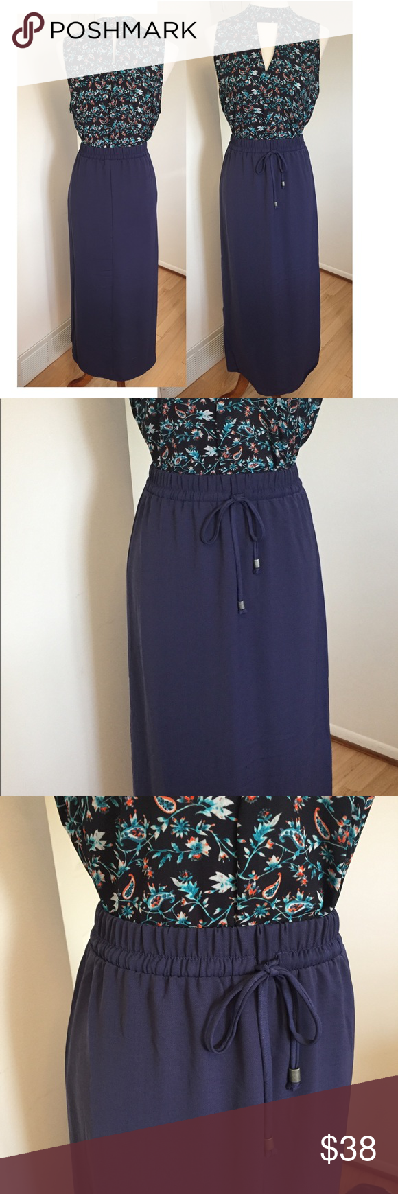 Fourteenth Place • Drawstring Maxi Skirt Drawstring waist maxi skirt. Beautiful blue color. Very soft and flowy. Can be paired causally with an everyday cotton t or with your favorite blouse for work. Side slit, fully lined. Definitely a go to piece during the transition into fall! New without tags. Fourteenth Place Skirts Maxi