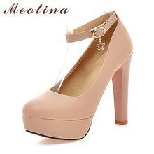 69f62265 Meotina Zapatos Mujeres Bombas Plataforma Sexy zapatos de Tacón Alto  Tobillo Correa Extremas zapatos de Tacones Altos Zapatos de Novia Zapatos  de Boda ...