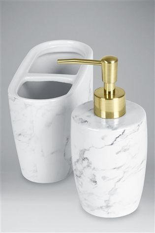 Buy Set Of 2 Marble Effect Soap Dispenser And Toothbrush Tidy From