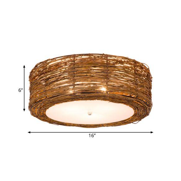 hand woven flush mount lamp with round shade modern rattan 3 lights bedroom ceiling light fixture i fixtures 60 spitfire fan