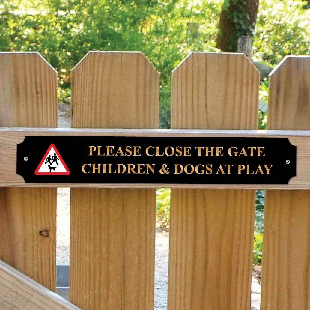 children dogs safety sign kids please close the gate classic