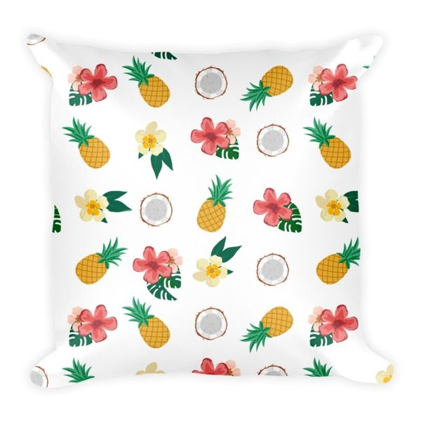 PINEAPPLE, COCONUT, HIBISCUS (WHITE) PILLOW - This soft pillow is an excellent addition that gives character to any space. It comes with a soft polyester insert that will retain its shape after many uses, and the pillow case can be easily machine washed. And it's completely cut, sewn and printed in the USA.