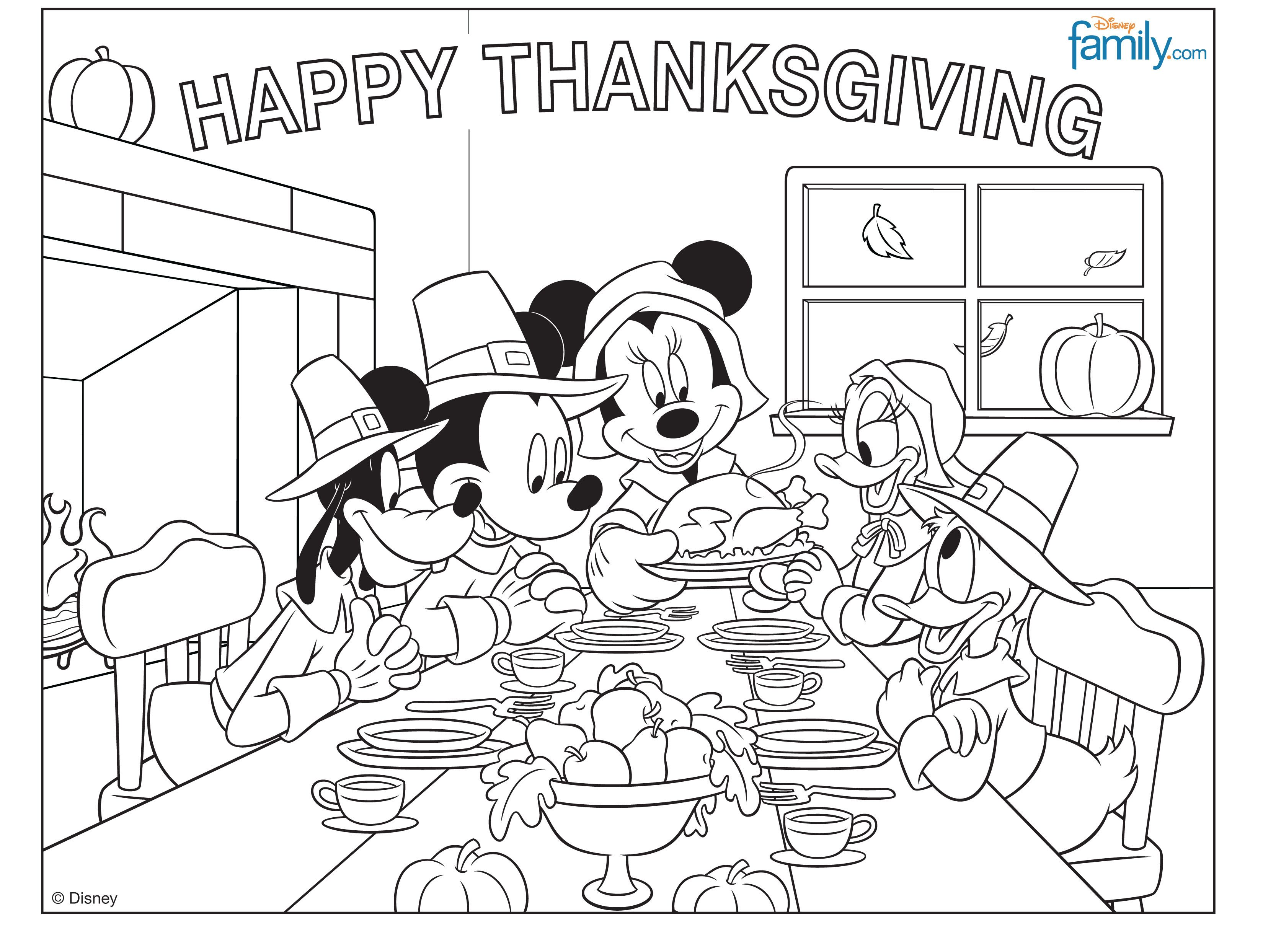 Mickey mouse thanksgiving coloring page holiday fun pinterest
