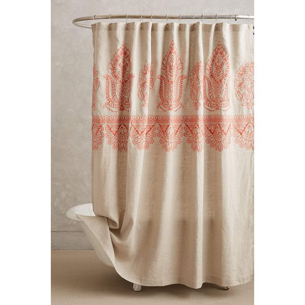 Embroidered Linen Shower Curtain 168 Liked On Polyvore Featuring Home Bed Bath Curtains Coral And