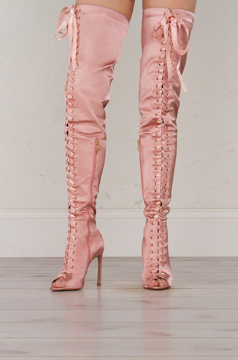 0dc4f7773a15c Front View Lace Up Satin Boots in Pink Thigh High Boots, Thigh Highs, Heeled