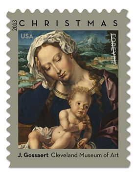 Virgin & Child by Jan Gossaert {USPS.com Last year's Madonna & Child Stamp.  No Madonna & Child Stamp this year.  Buy sacred art Forever stamps and use them year round.  Show the USPS the demand for them.  Order online.}