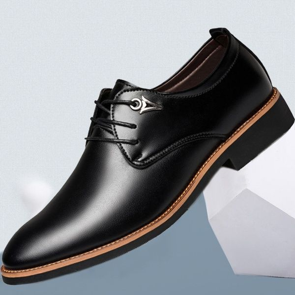1271b8e2a9c Fashion Men s Casual Dress Shoes Men Flat Business Oxfords Shoes  Comfortable Pointed Toe Lace Up Shoes