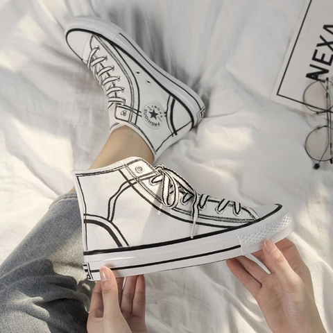 Hand painted High top Canvas Shoes RI   Painted shoes diy