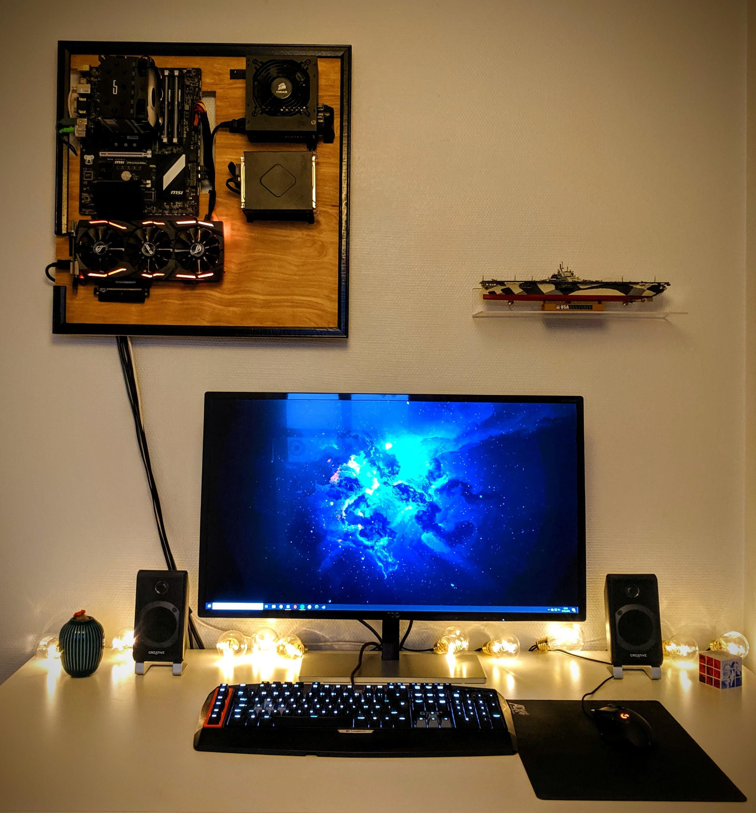 My Wall Mounted Pc Is Finished With Images Wall Mounted Pc Wall Mount Wall