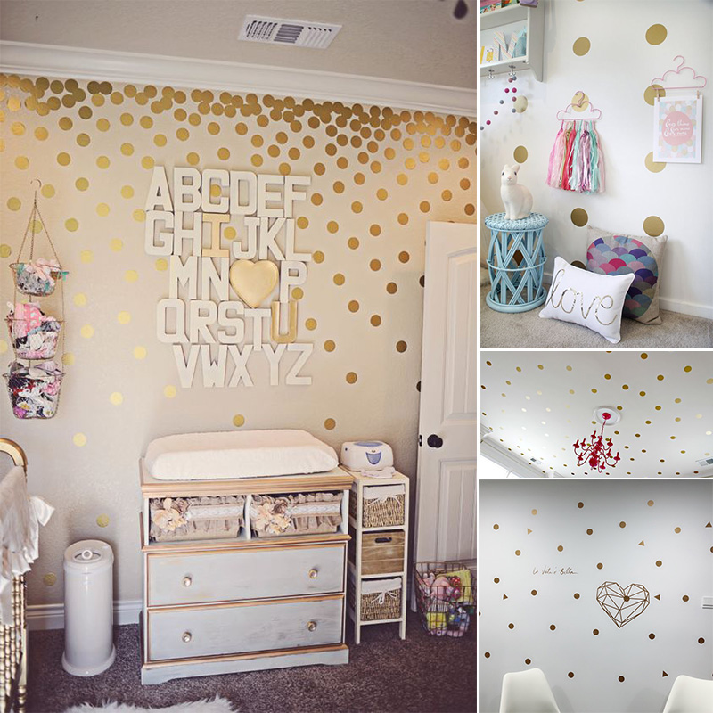 gold polka dots nursery wall decals colorful removable on wall stickers for kids id=43307