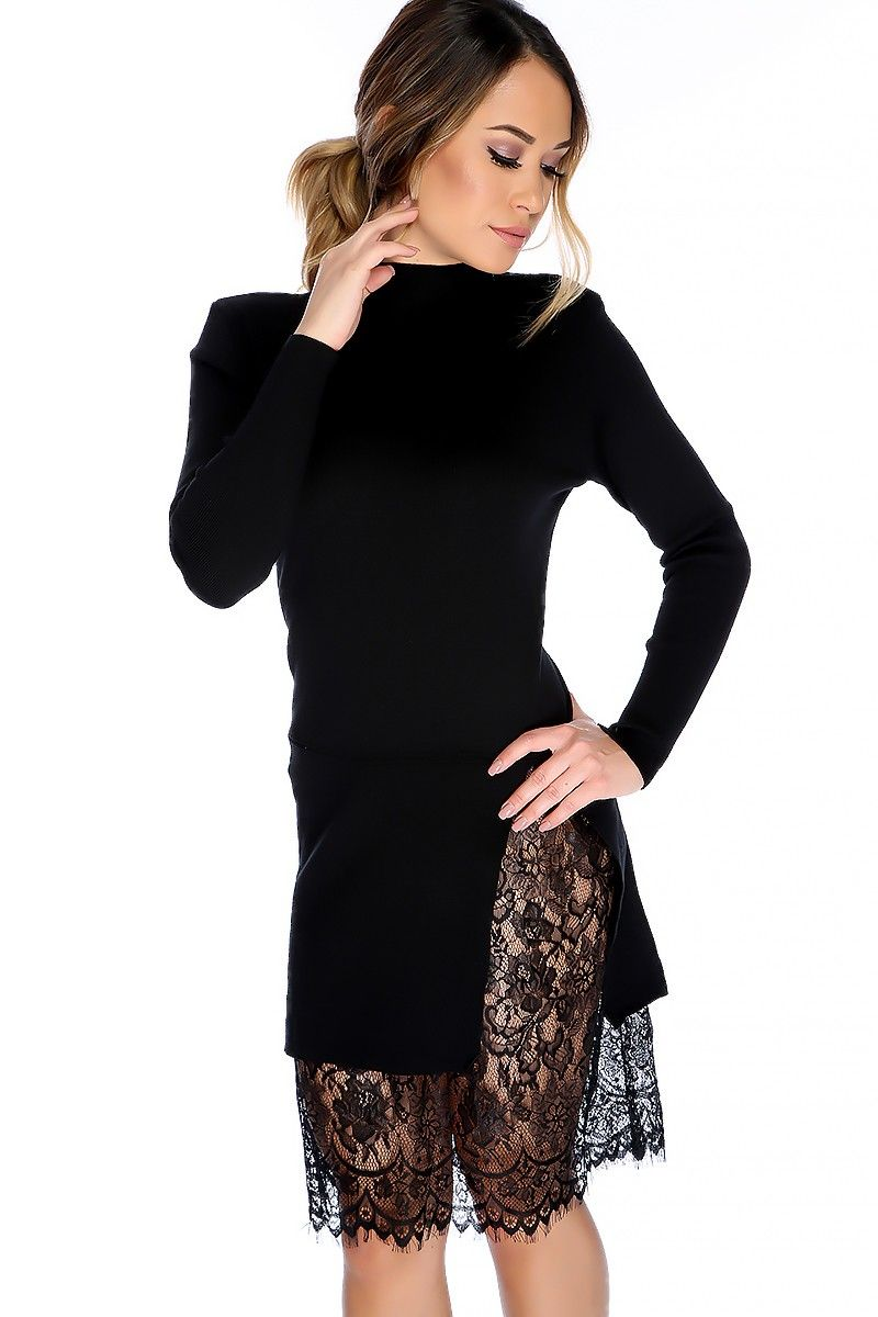 a37f917bc61c Sexy Black Ruffled Mock Neck Long Sleeve Side Slit Floral Lace Detailing Knee  Length Sweater Dress