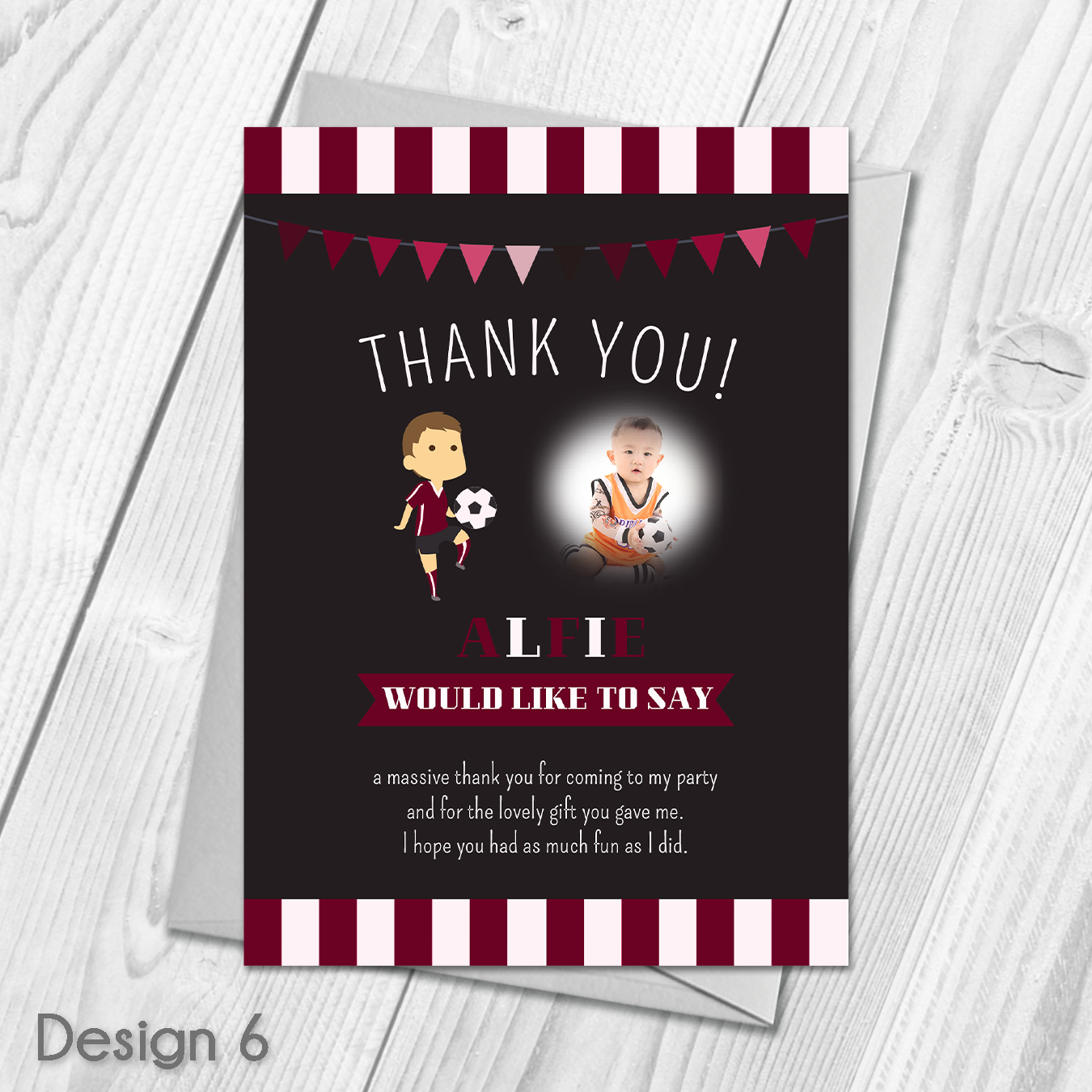 Personalised Football Party Thank You Cards Childrens Football