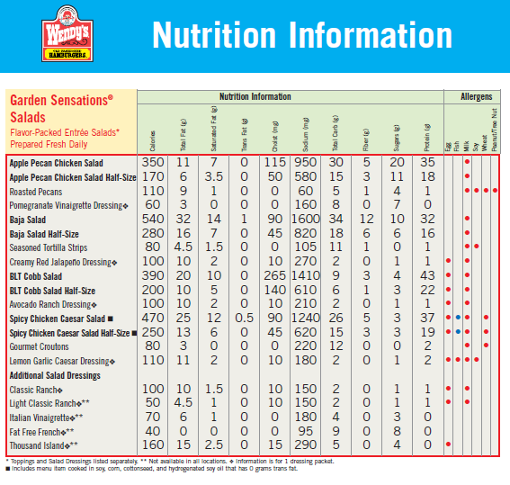 Printable sodium chart wendys nutrition facts nutrient for Nutrition facts table template