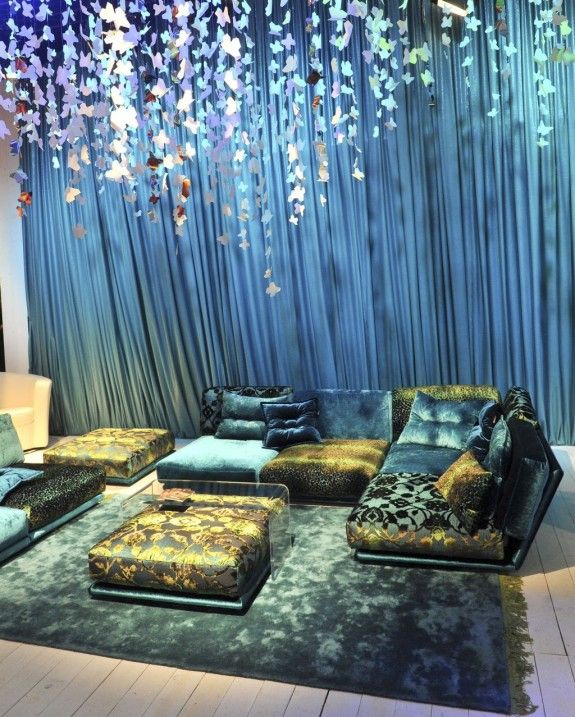 Awesome Wohnzimmer Blau Gold Pictures - House Design Ideas