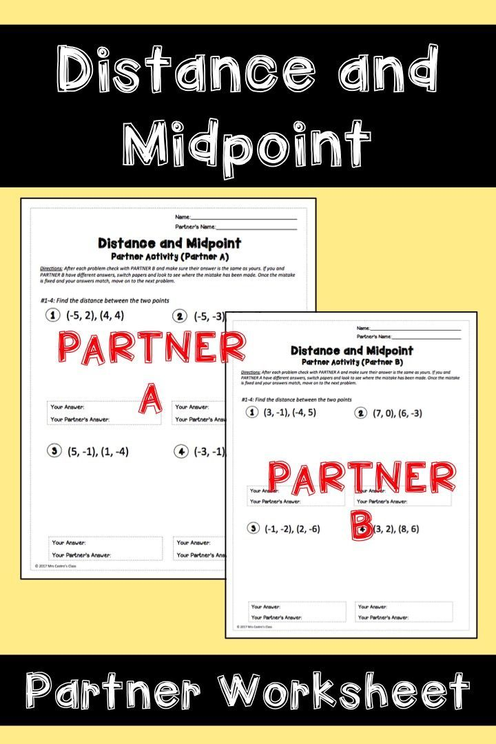 Distance And Midpoint Partner Worksheet Math Explorations