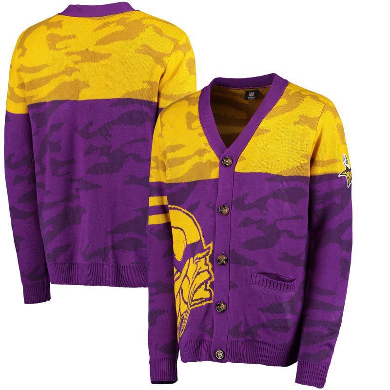 promo code 6bae9 4f6e2 Minnesota Vikings Klew Camouflage Cardigan - Purple ...