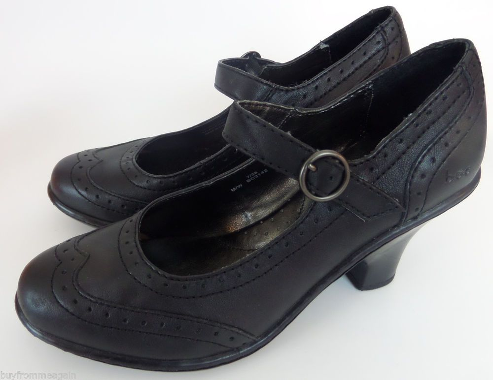 BOC Born Concept Black Women Shoes Mary Jane 7 38 M Heels Leather Pump Wingtip