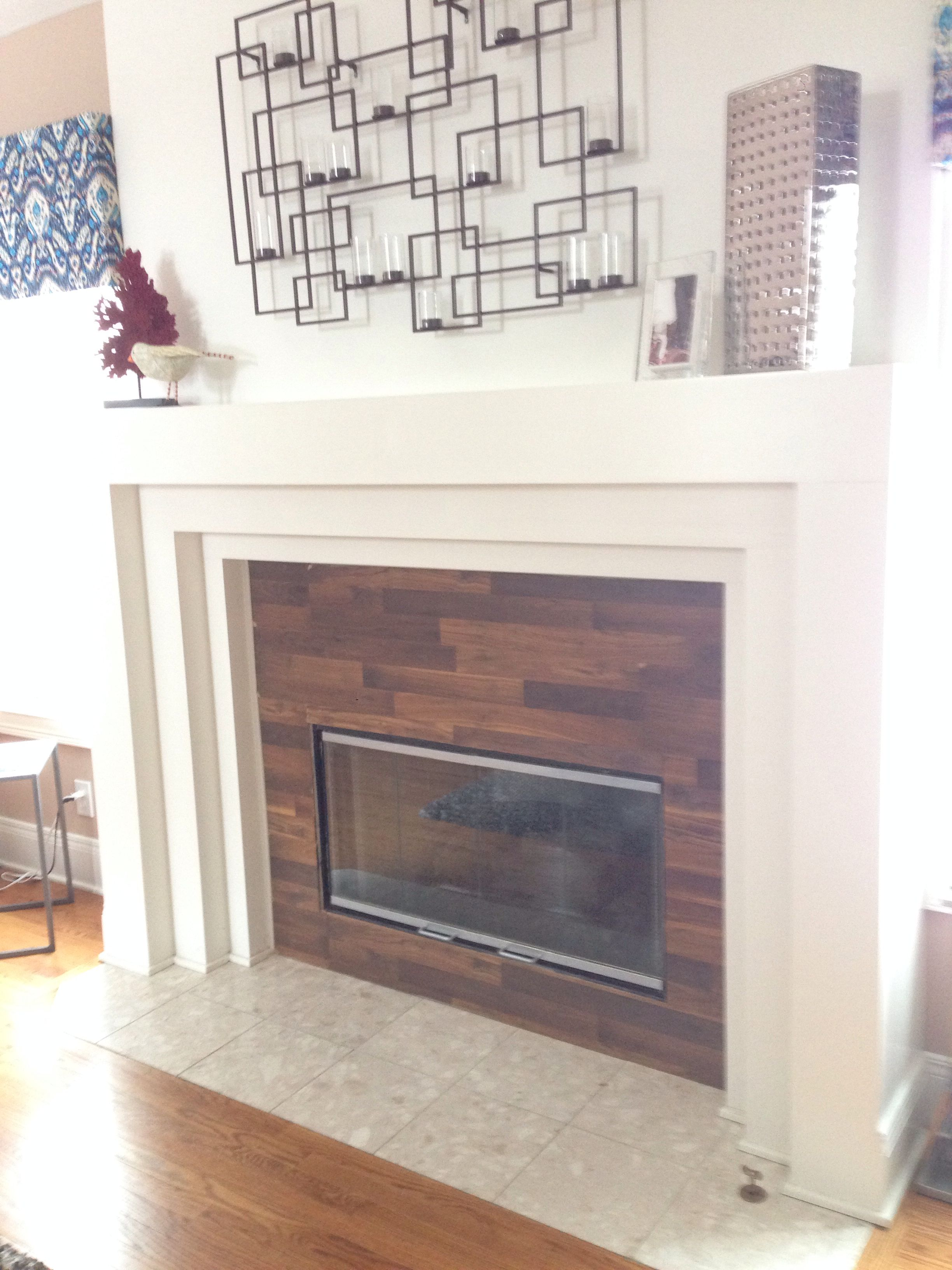 Created a reclaimed wood look around the fireplace with