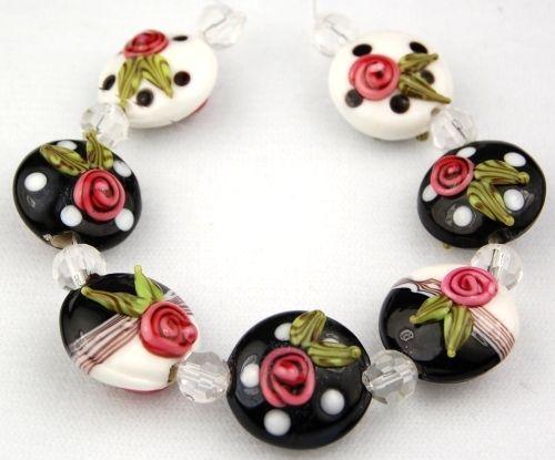 Handmade Lampwork Beads Black White Lentil Floral Dot | eBay