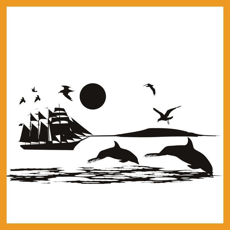 Paisaje Mural Dolphins Gaviotas Y Barco En El Mar Etiqueta de La ...