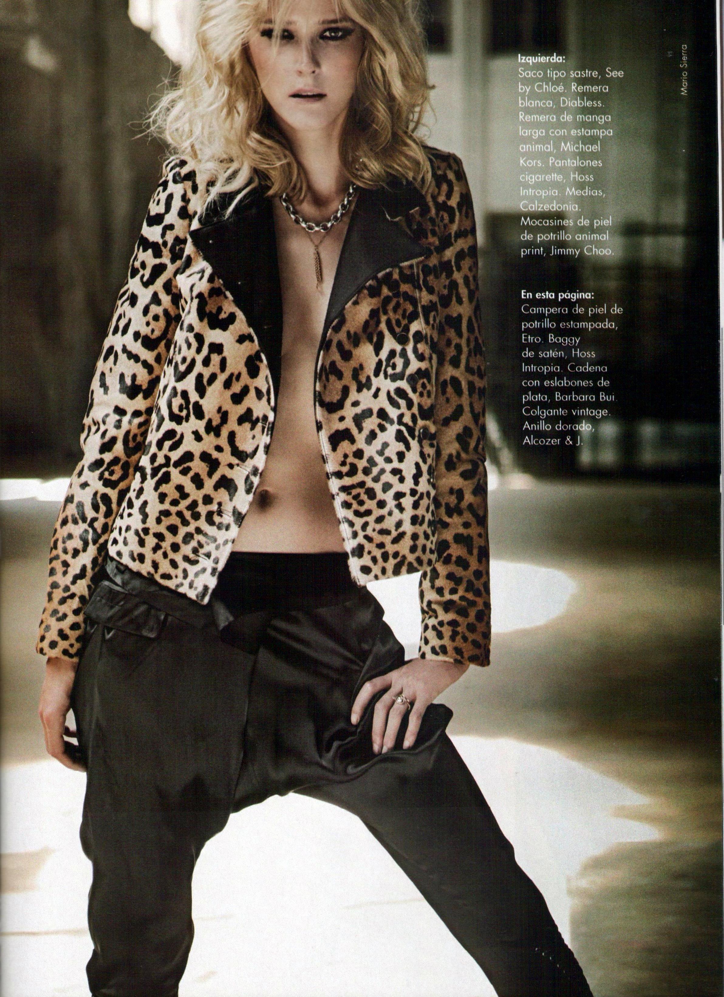 Carmen Kass in a leopard print biker jacket from by Michael Kors